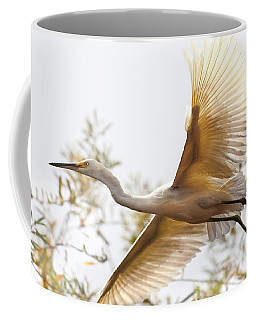 Coffee Mug featuring the photograph Flying Egret  by Jerry Cowart