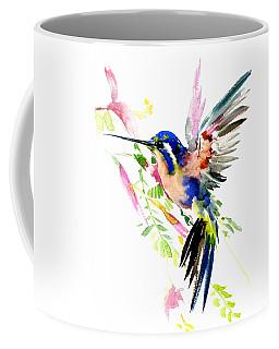 Flying Hummingbird Blue Peach Colors Coffee Mug