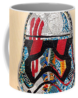 Coffee Mug featuring the tapestry - textile Storm Trooper Fn-2187 Helmet Star Wars Awakens Afrofuturist Collection by Apanaki Temitayo M