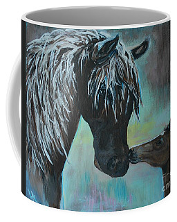 Coffee Mug featuring the painting Foal Kiss by Leslie Allen