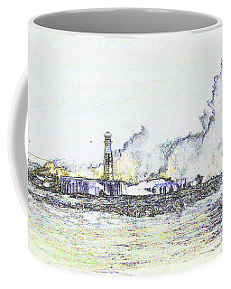 Coffee Mug featuring the photograph Foamy Sea At The Breakwater by Nareeta Martin