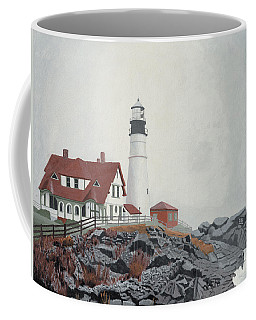 Coffee Mug featuring the painting Fog Approaching Portland Head Light by Dominic White