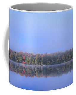 Coffee Mug featuring the photograph Foggy Autumn Panorama by David Patterson