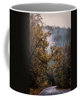 Coffee Mug featuring the photograph Foggy Autumn Road  by Saija Lehtonen