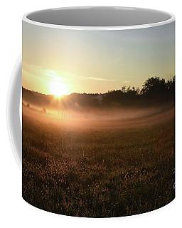 Foggy Field At Sunrise Coffee Mug