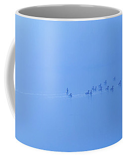Coffee Mug featuring the photograph Foggy Morning Lake Geese by Randy Steele