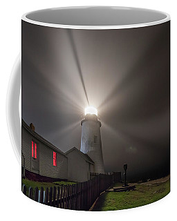 Foggy Night At Pemaquid Point Lighthouse Coffee Mug