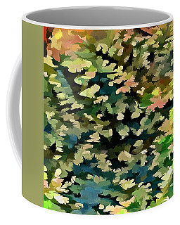 Foliage Abstract In Green, Peach And Phthalo Blue Coffee Mug by Tracey Harrington-Simpson