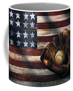 Folk Art American Flag And Baseball Mitt Coffee Mug