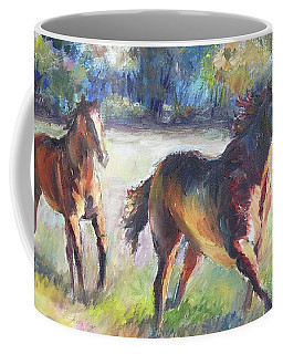 Coffee Mug featuring the painting Follow Me by Bonnie Goedecke