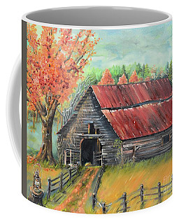 Coffee Mug featuring the painting Follow The Lantern - Early Morning Barn- Anne's Barn by Jan Dappen