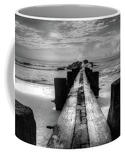 Folly Beach Pilings Charleston South Carolina In Black And White  Coffee Mug
