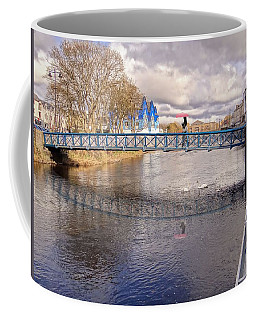 Footbridge Over The Garavogue River In Sligo With Reflections And Swans Sheltering Beneath It Coffee Mug