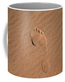 Coffee Mug featuring the photograph Footprint In The Sand by Keiran Lusk