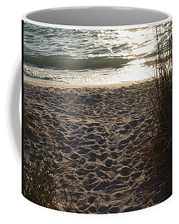 Coffee Mug featuring the photograph Footprints In The Dunes by Robert Margetts