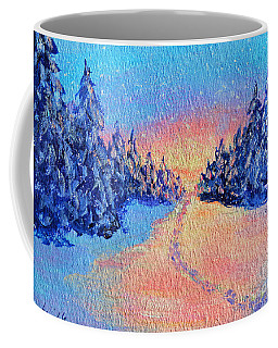 Coffee Mug featuring the painting Footprints In The Snow by Li Newton