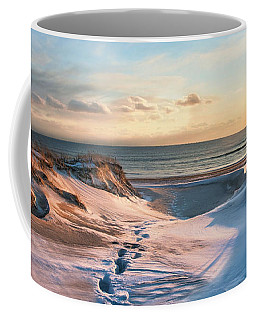 Coffee Mug featuring the photograph Footprints In The Snow by Robin-Lee Vieira