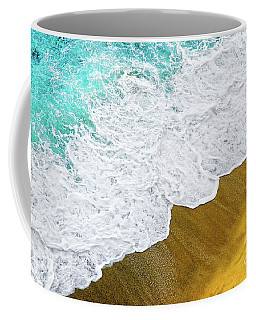 Coffee Mug featuring the photograph Footsteps In The Sand Hopelessly Facing The Rising Tide  by Silvia Ganora