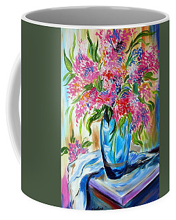 For The Love Of Flowers In A Blue Vase Coffee Mug