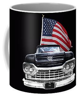 Ford F100 With U.s.flag On Black Coffee Mug