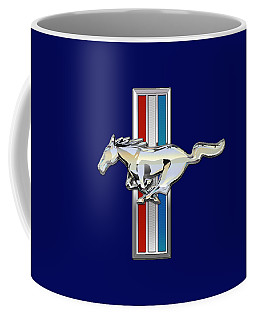 Ford Mustang - Tri Bar And Pony 3 D Badge On Black Coffee Mug