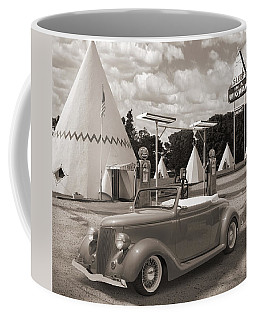 Ford Roadster At An Indian Gas Station Sepia Coffee Mug