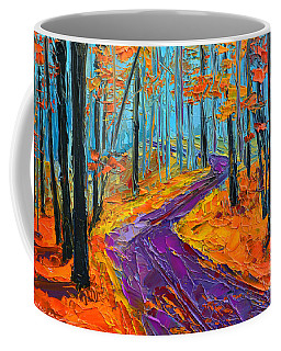 Coffee Mug featuring the painting Autumn Forest And Purple Path - Orange Red Foliage - Modern Impressionist Knife Palette by Patricia Awapara