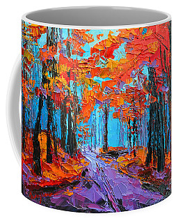 Coffee Mug featuring the painting Autumn Forest, Purple Path, Modern Impressionist, Palette Knife Painting by Patricia Awapara