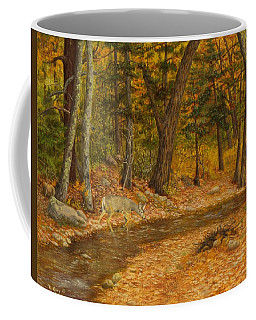 Coffee Mug featuring the painting Forest Life by Roena King