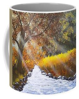 Forest Sunrays Over Water Coffee Mug