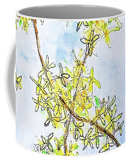 Coffee Mug featuring the painting Forsythia by Monique Faella