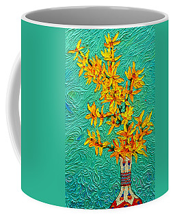 Forsythia Vibration Modern Impressionist Flower Art Palette Knife Oil Painting By Ana Maria Edulescu Coffee Mug
