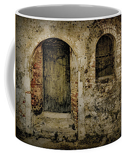 Coffee Mug featuring the photograph Corfu, Greece - Fortress Door by Mark Forte