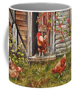 Coffee Mug featuring the painting Fossicking Fowls by Val Stokes
