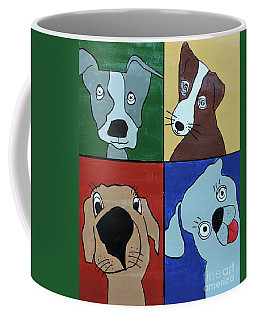 Coffee Mug featuring the painting Four Dogs by Sean Brushingham