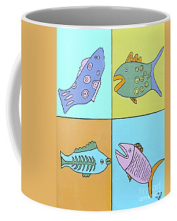 Coffee Mug featuring the painting Four Fish by Sean Brushingham