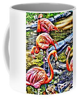 Four Pink Flamingos Coffee Mug