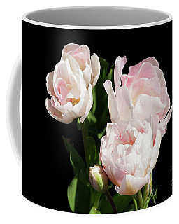 Four Pink Tulips And A Bud On Black Coffee Mug