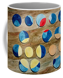 Four Rows Of Circles On Wood Coffee Mug