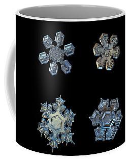 Four Snowflakes On Black 2 Coffee Mug