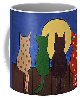 Coffee Mug featuring the painting Four Tails On A Fence by Sean Brushingham