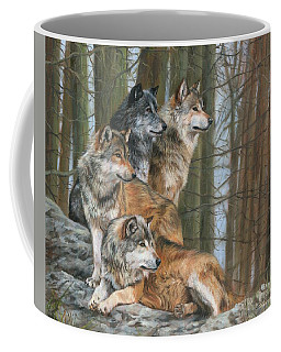 Four Wolves Coffee Mug by David Stribbling