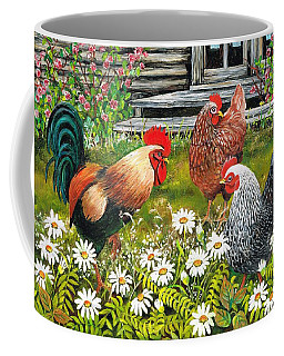 Coffee Mug featuring the painting Fowl Play by Val Stokes