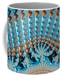 Fractal Art Crochet Style Blue And Gold Coffee Mug