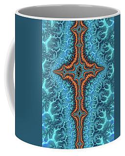 Coffee Mug featuring the digital art Fractal Cross Turquoise And Orange by Matthias Hauser