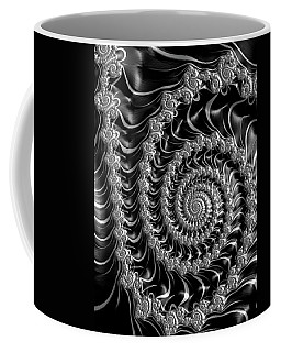 Fractal Spiral Gray Silver Black Steampunk Style Coffee Mug