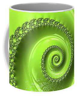 Fractal Spiral Greenery Color Coffee Mug by Matthias Hauser