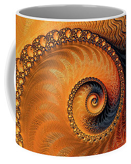 Fractal Spiral Orange And Brown Coffee Mug by Matthias Hauser