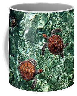 Fragile Underwater World. Sea Turtles In A Crystal Water. Maldives Coffee Mug