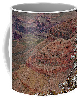 Coffee Mug featuring the photograph Framed By A Snow Laden Tree by Debby Pueschel